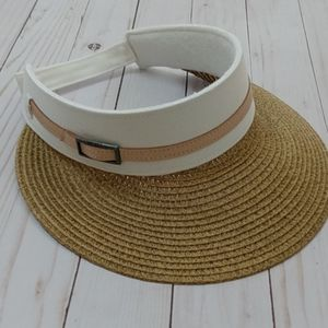 Nine West Tan White Canvas And Straw Visor Hat
